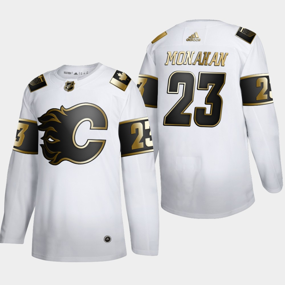 Calgary Flames #23 Sean Monahan Men's Adidas White Golden Edition Limited Stitched NHL Jersey
