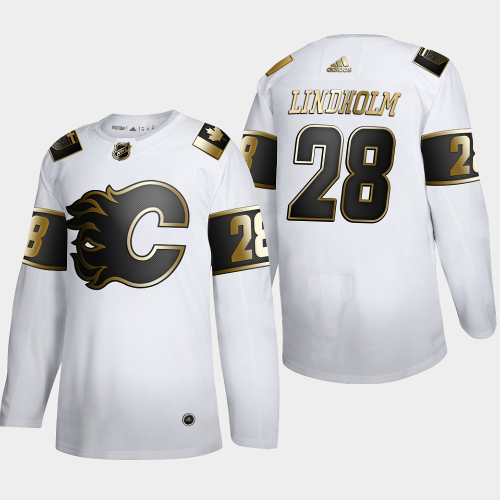 Calgary Flames #28 Elias Lindholm Men's Adidas White Golden Edition Limited Stitched NHL Jersey