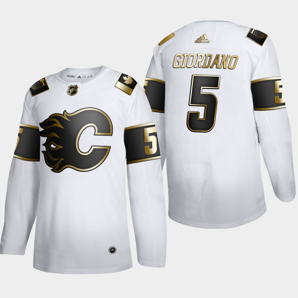 Calgary Flames #5 Mark Giordano Men's Adidas White Golden Edition Limited Stitched NHL Jersey