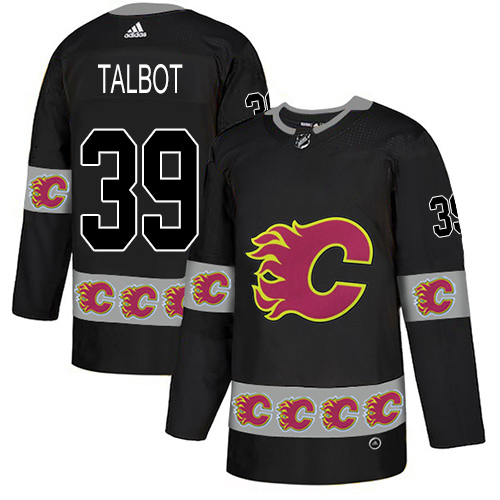 Adidas Flames #39 Cam Talbot Black Authentic Team Logo Fashion Stitched NHL Jersey