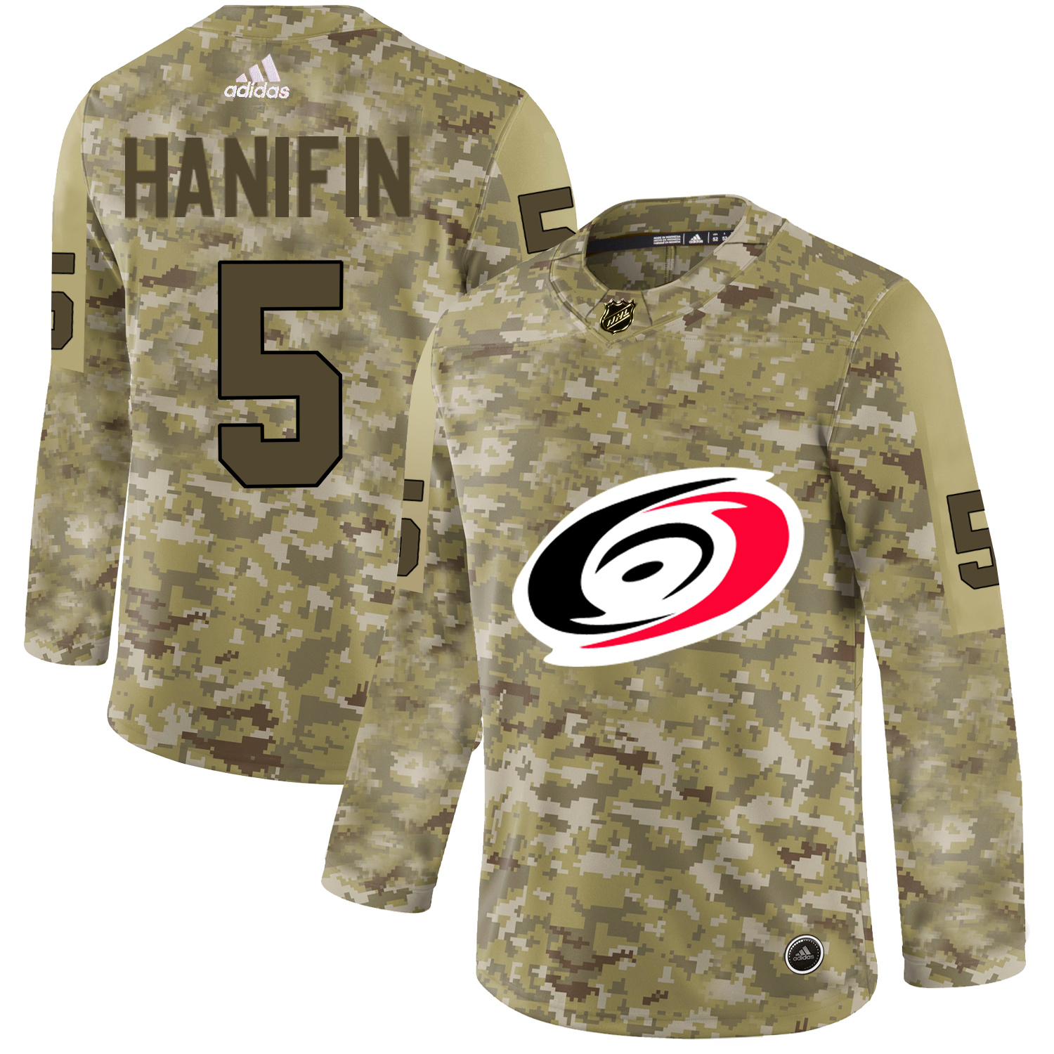 Adidas Hurricanes #5 Noah Hanifin Camo Authentic Stitched NHL Jersey