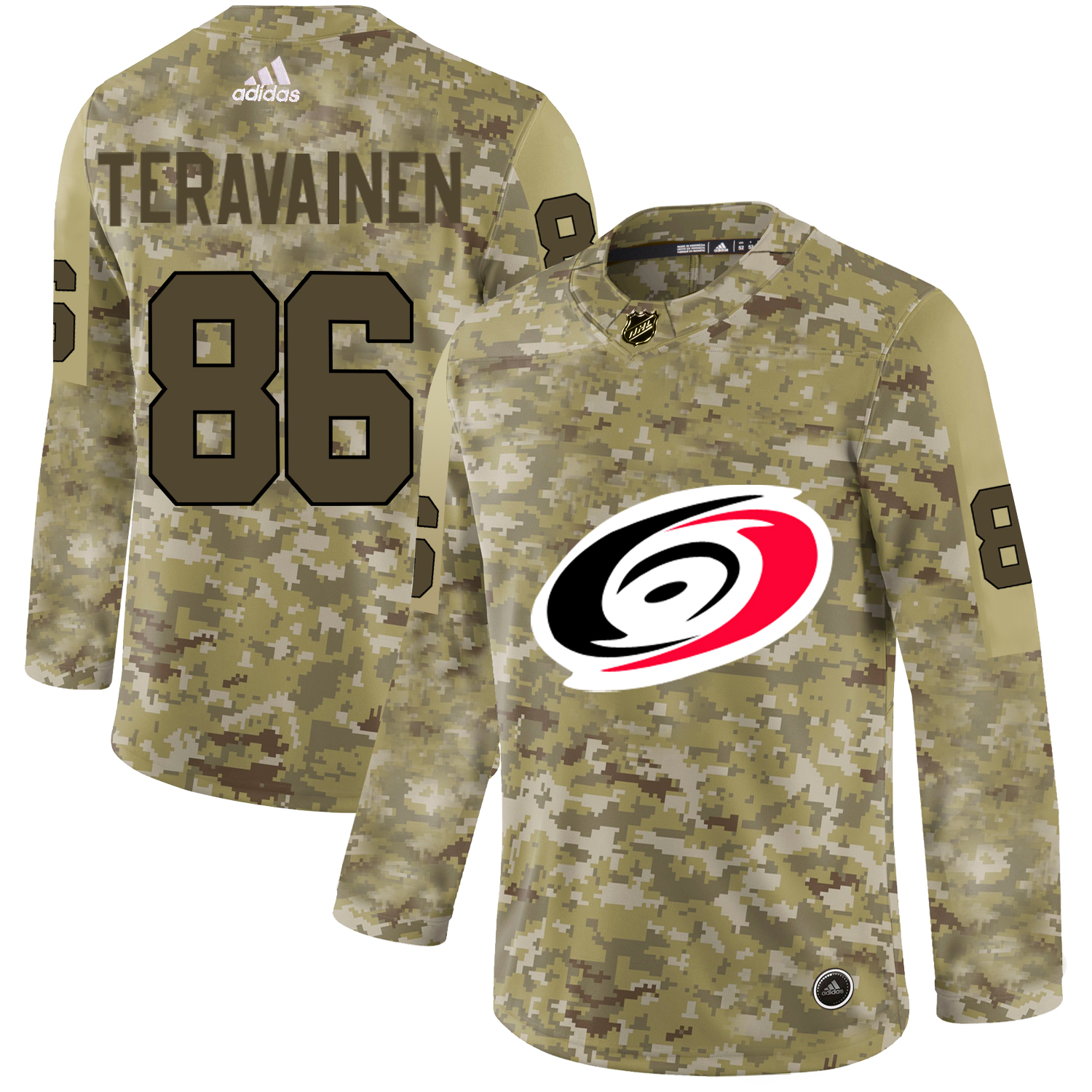 Adidas Hurricanes #86 Teuvo Teravainen Camo Authentic Stitched NHL Jersey