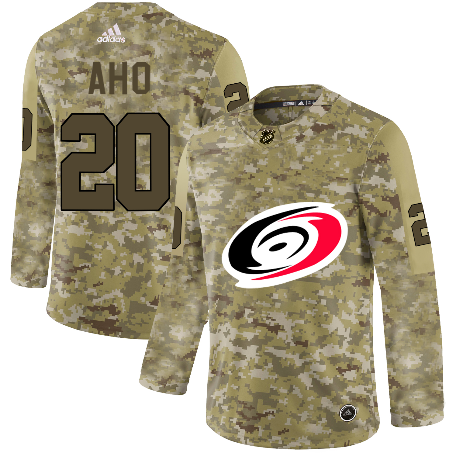 Adidas Hurricanes #20 Sebastian Aho Camo Authentic Stitched NHL Jersey