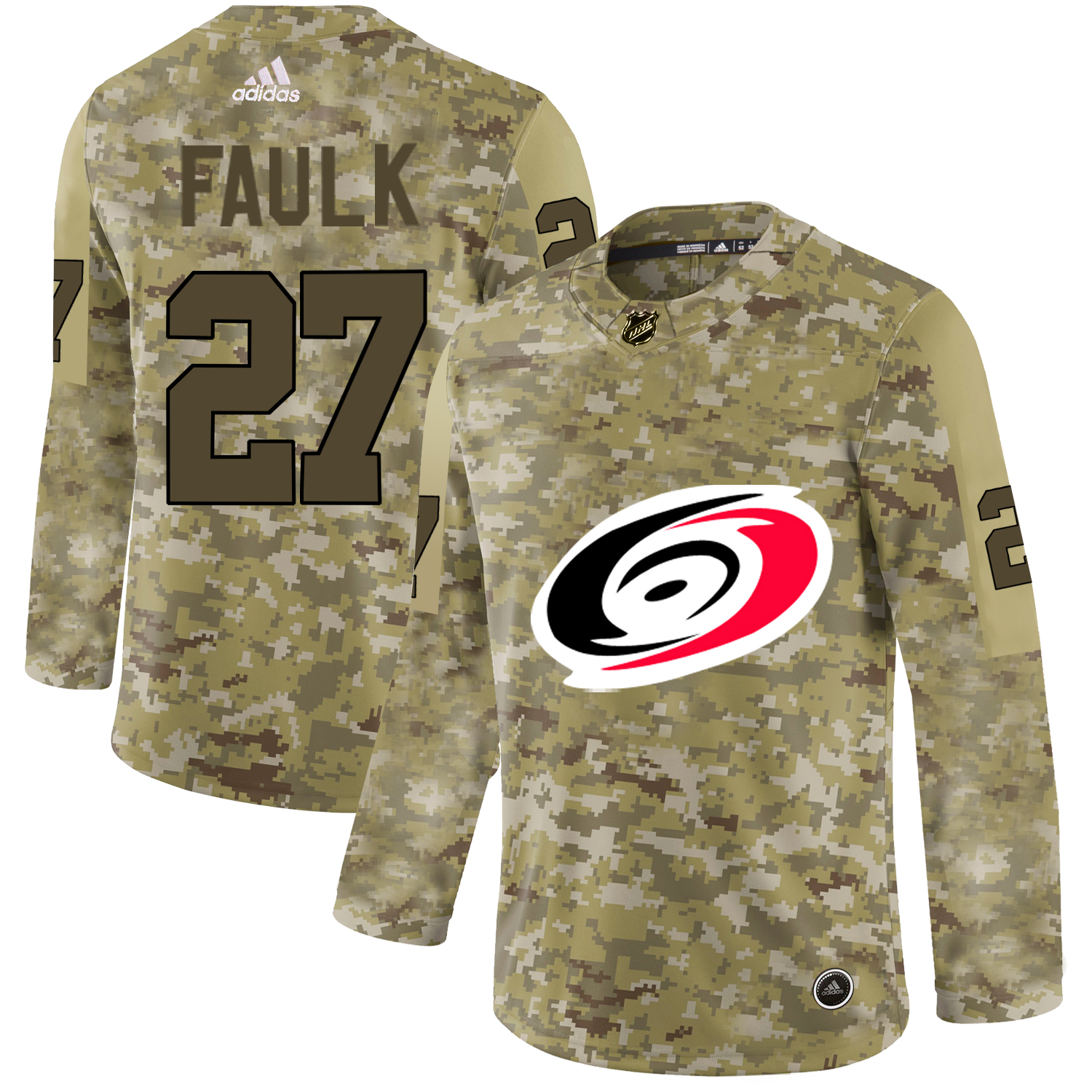 Adidas Hurricanes #27 Justin Faulk Camo Authentic Stitched NHL Jersey