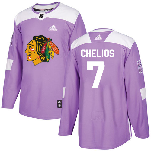 Adidas Blackhawks #7 Chris Chelios Purple Authentic Fights Cancer Stitched NHL Jersey
