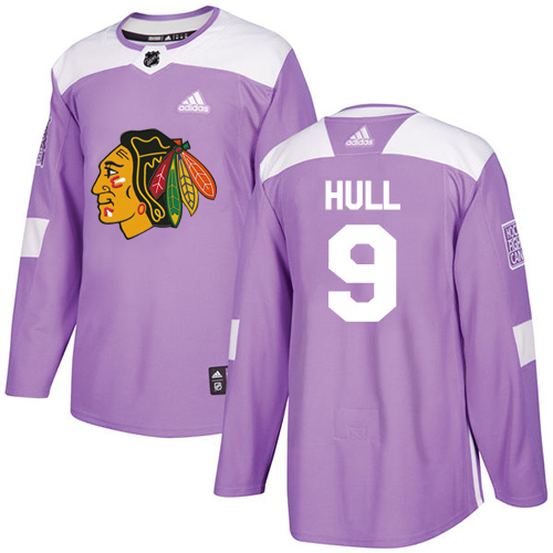 Adidas Blackhawks #9 Bobby Hull Purple Authentic Fights Cancer Stitched NHL Jersey