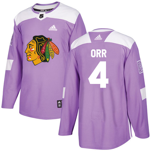 Adidas Blackhawks #4 Bobby Orr Purple Authentic Fights Cancer Stitched NHL Jersey