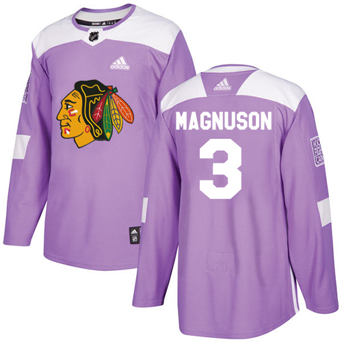 Adidas Blackhawks #3 Keith Magnuson Purple Authentic Fights Cancer Stitched NHL Jersey