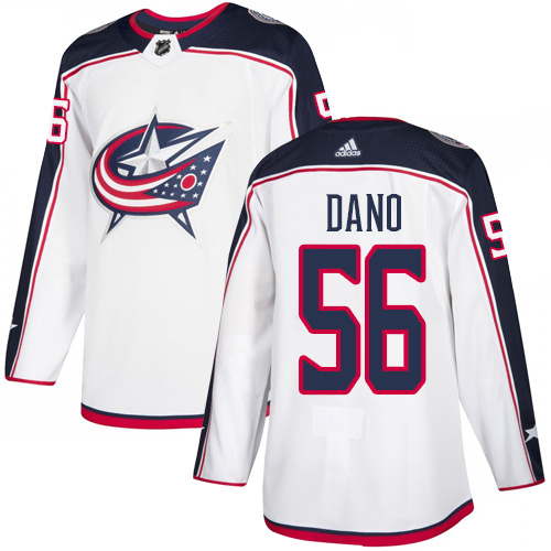 Adidas Blue Jackets #56 Marko Dano White Road Authentic Stitched NHL Jersey