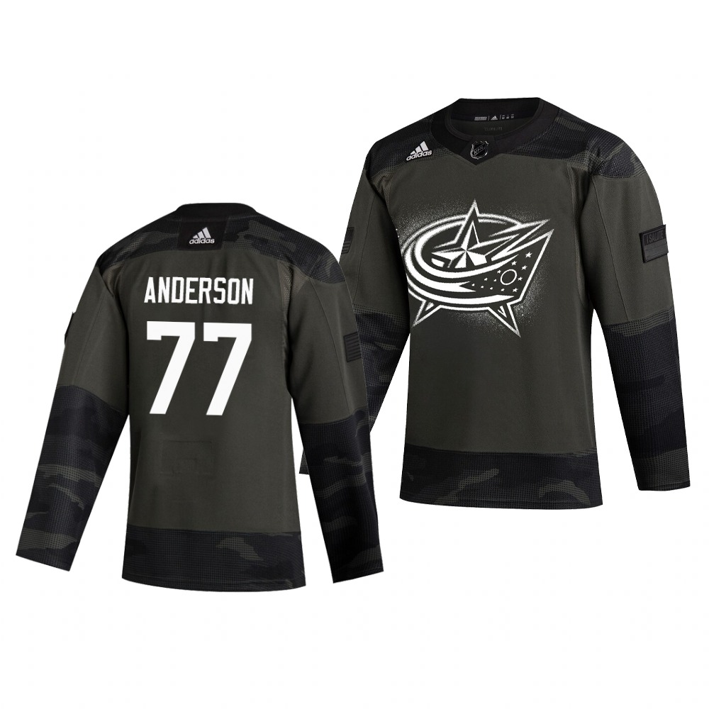 Columbus Blue Jackets #77 Josh Anderson Adidas 2019 Veterans Day Men's Authentic Practice NHL Jersey Camo