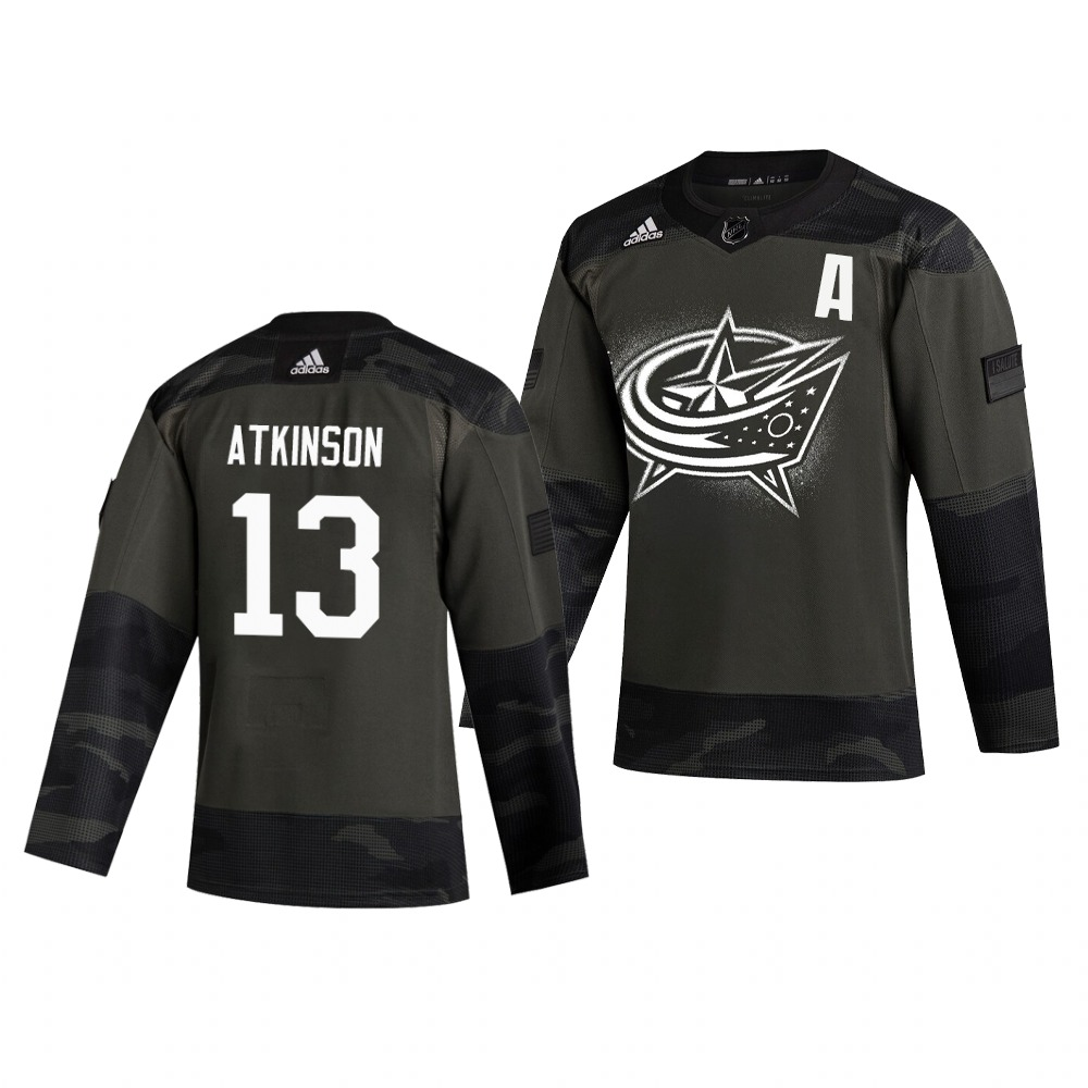 Columbus Blue Jackets #13 Cam Atkinson Adidas 2019 Veterans Day Men's Authentic Practice NHL Jersey Camo