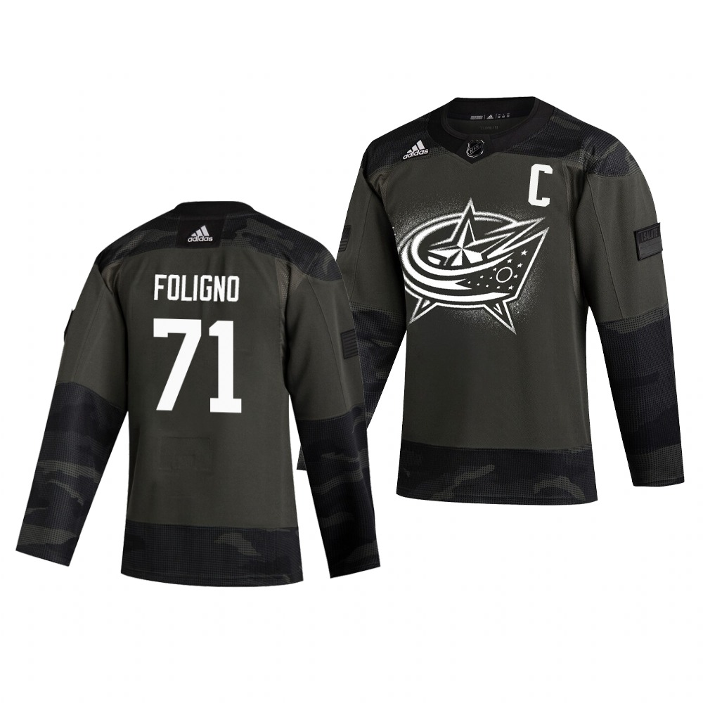 Columbus Blue Jackets #71 Nick Foligno Adidas 2019 Veterans Day Men's Authentic Practice NHL Jersey Camo
