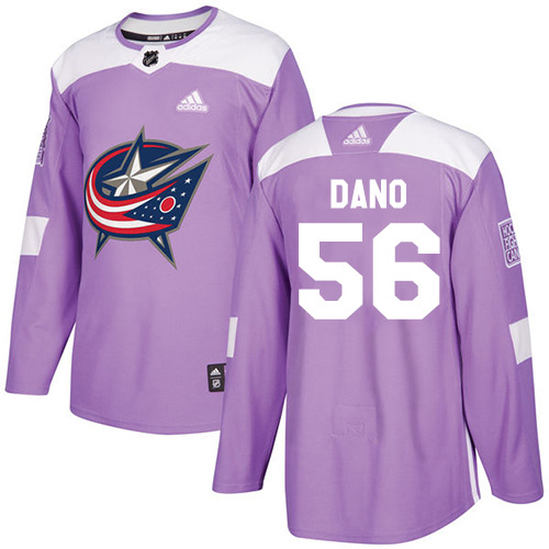 Adidas Blue Jackets #56 Marko Dano Purple Authentic Fights Cancer Stitched NHL Jersey