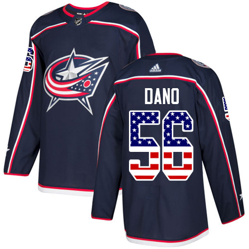 Adidas Blue Jackets #56 Marko Dano Navy Blue Home Authentic USA Flag Stitched NHL Jersey