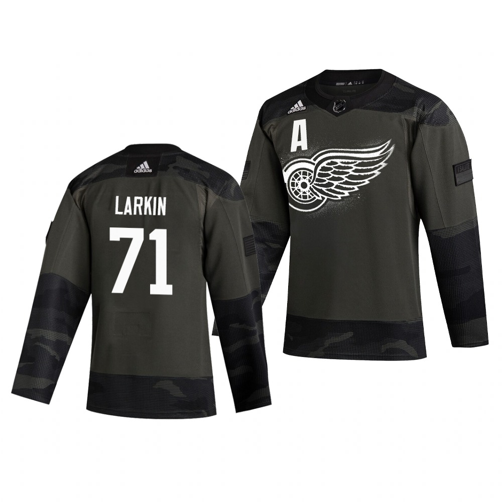 Detroit Red Wings #71 Dylan Larkin Adidas 2019 Veterans Day Men's Authentic Practice NHL Jersey Camo