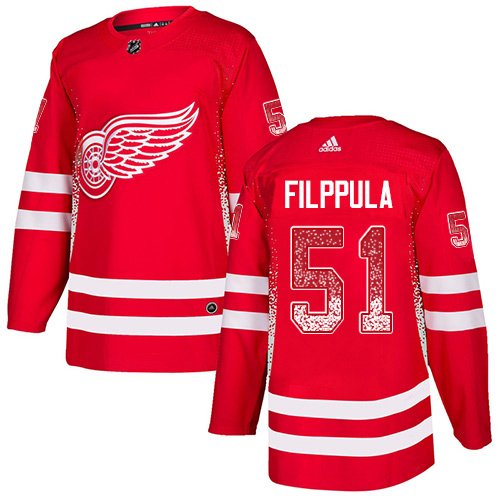 Adidas Red Wings #51 Valtteri Filppula Red Home Authentic Drift Fashion Stitched NHL Jersey