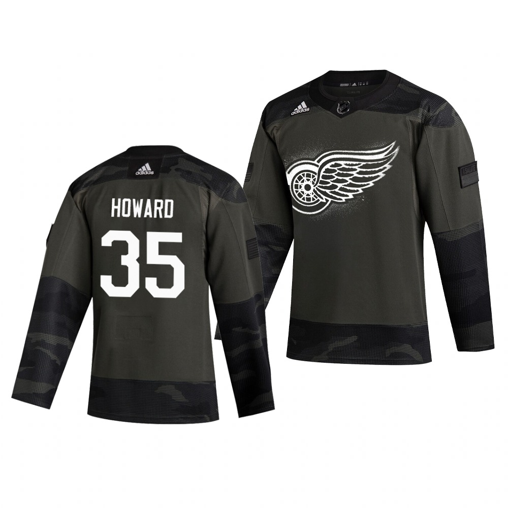 Detroit Red Wings #35 Jimmy Howard Adidas 2019 Veterans Day Men's Authentic Practice NHL Jersey Camo