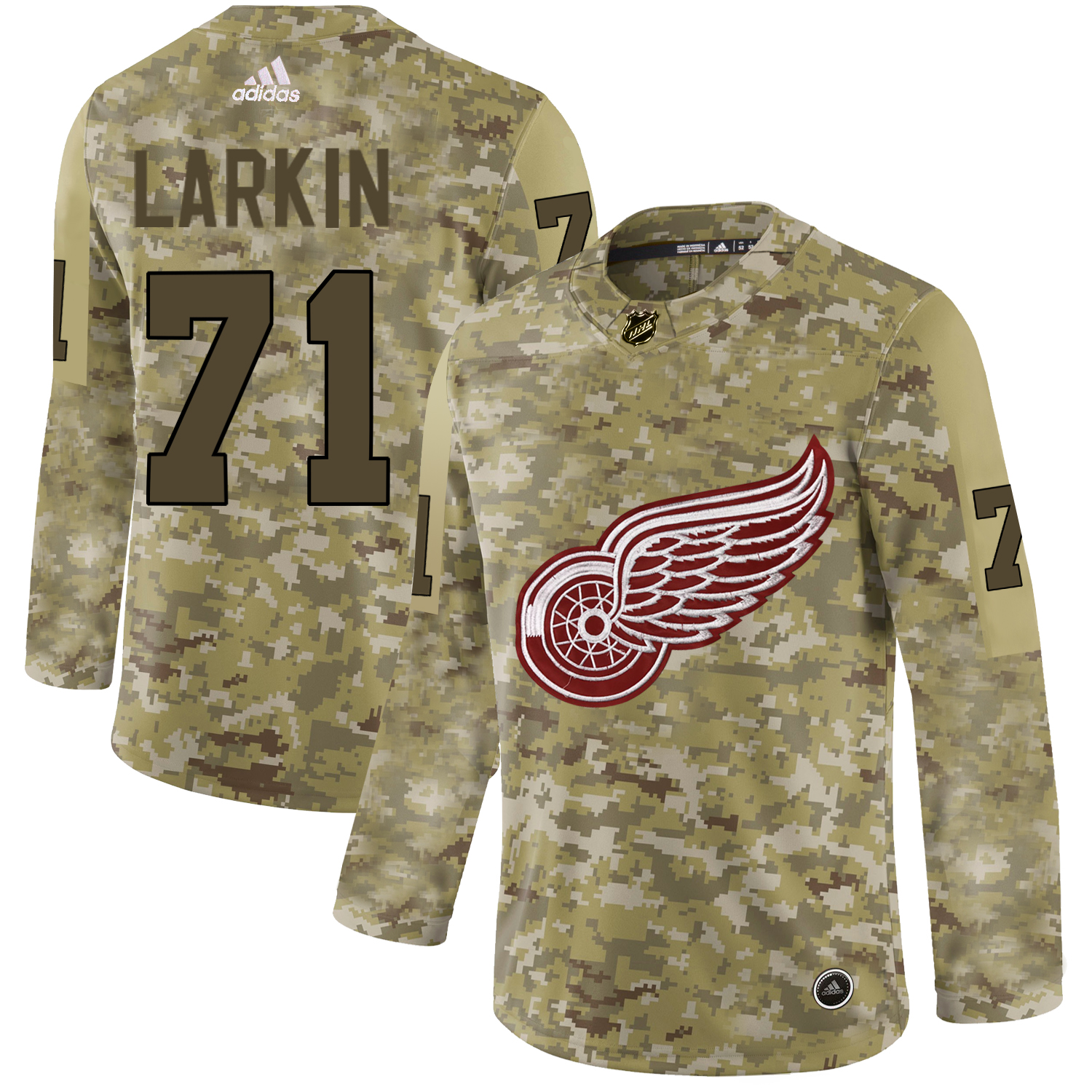 Adidas Red Wings #71 Dylan Larkin Camo Authentic Stitched NHL Jersey