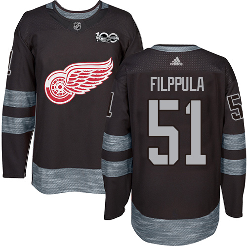 Adidas Red Wings #51 Valtteri Filppula Black 1917-2017 100th Anniversary Stitched NHL Jersey