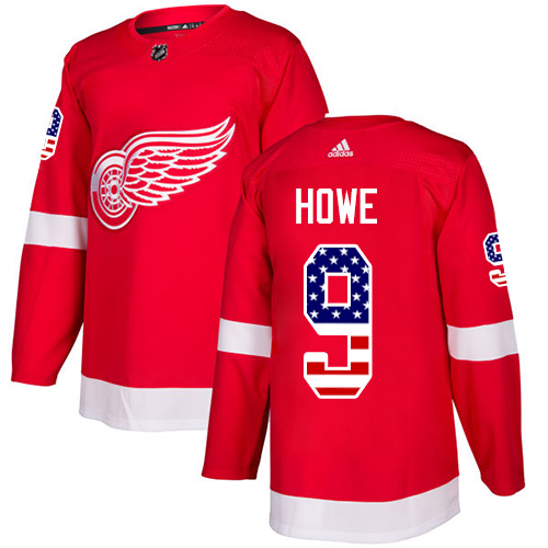 Adidas Red Wings #9 Gordie Howe Red Home Authentic USA Flag Stitched NHL Jersey