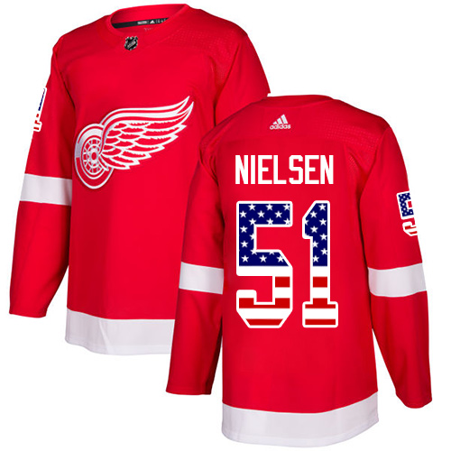 Adidas Red Wings #51 Frans Nielsen Red Home Authentic USA Flag Stitched NHL Jersey