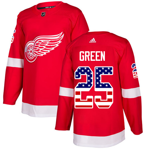 Adidas Red Wings #25 Mike Green Red Home Authentic USA Flag Stitched NHL Jersey