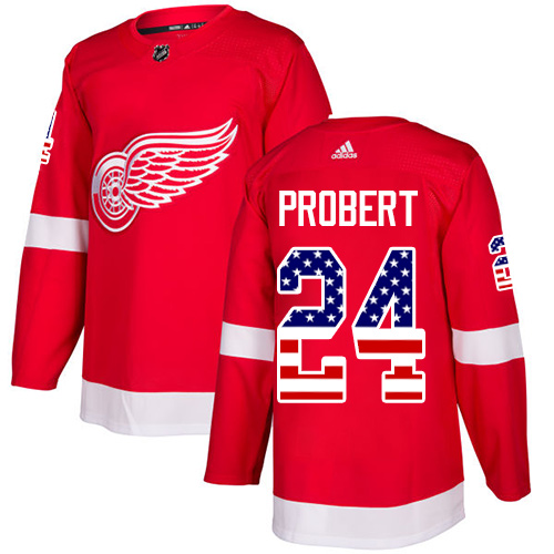 Adidas Red Wings #24 Bob Probert Red Home Authentic USA Flag Stitched NHL Jersey