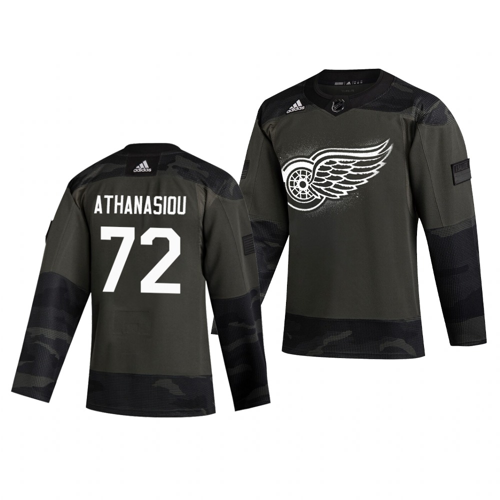 Detroit Red Wings #72 Andreas Athanasiou Adidas 2019 Veterans Day Men's Authentic Practice NHL Jersey Camo