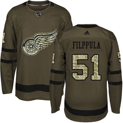 Adidas Red Wings #51 Valtteri Filppula Green Salute to Service Stitched NHL Jersey