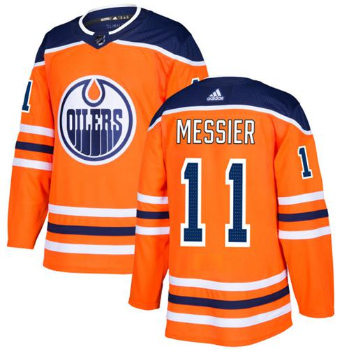 Adidas Oilers #11 Mark Messier Orange Home Authentic Stitched NHL Jersey