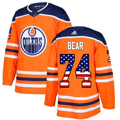 Adidas Oilers #74 Ethan Bear Orange Home Authentic USA Flag Stitched NHL Jersey