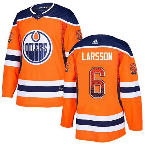Adidas Oilers #6 Adam Larsson Orange Home Authentic Drift Fashion Stitched NHL Jersey