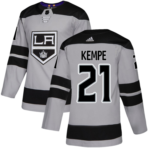 Adidas Kings #21 Mario Kempe Gray Alternate Authentic Stitched NHL Jersey