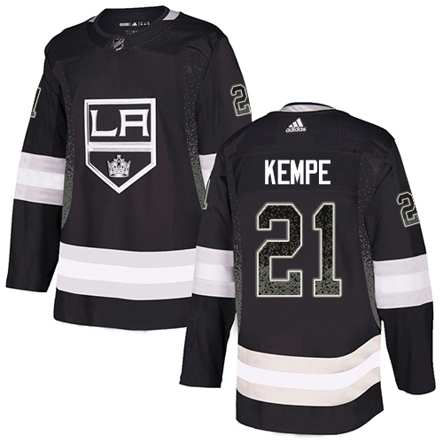 Adidas Kings #21 Mario Kempe Black Home Authentic Drift Fashion Stitched NHL Jersey