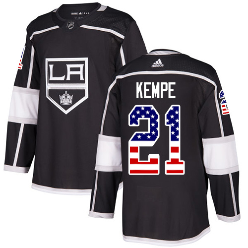 Adidas Kings #21 Mario Kempe Black Home Authentic USA Flag Stitched NHL Jersey