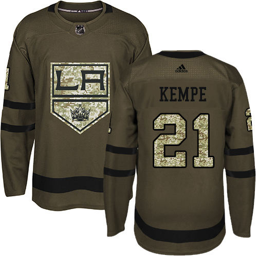 Adidas Kings #21 Mario Kempe Green Salute to Service Stitched NHL Jersey