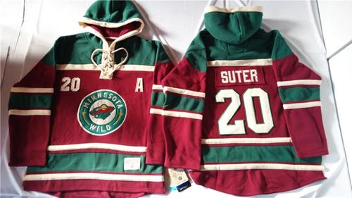 Wild #20 Ryan Suter Red Sawyer Hooded Sweatshirt Stitched NHL Jersey