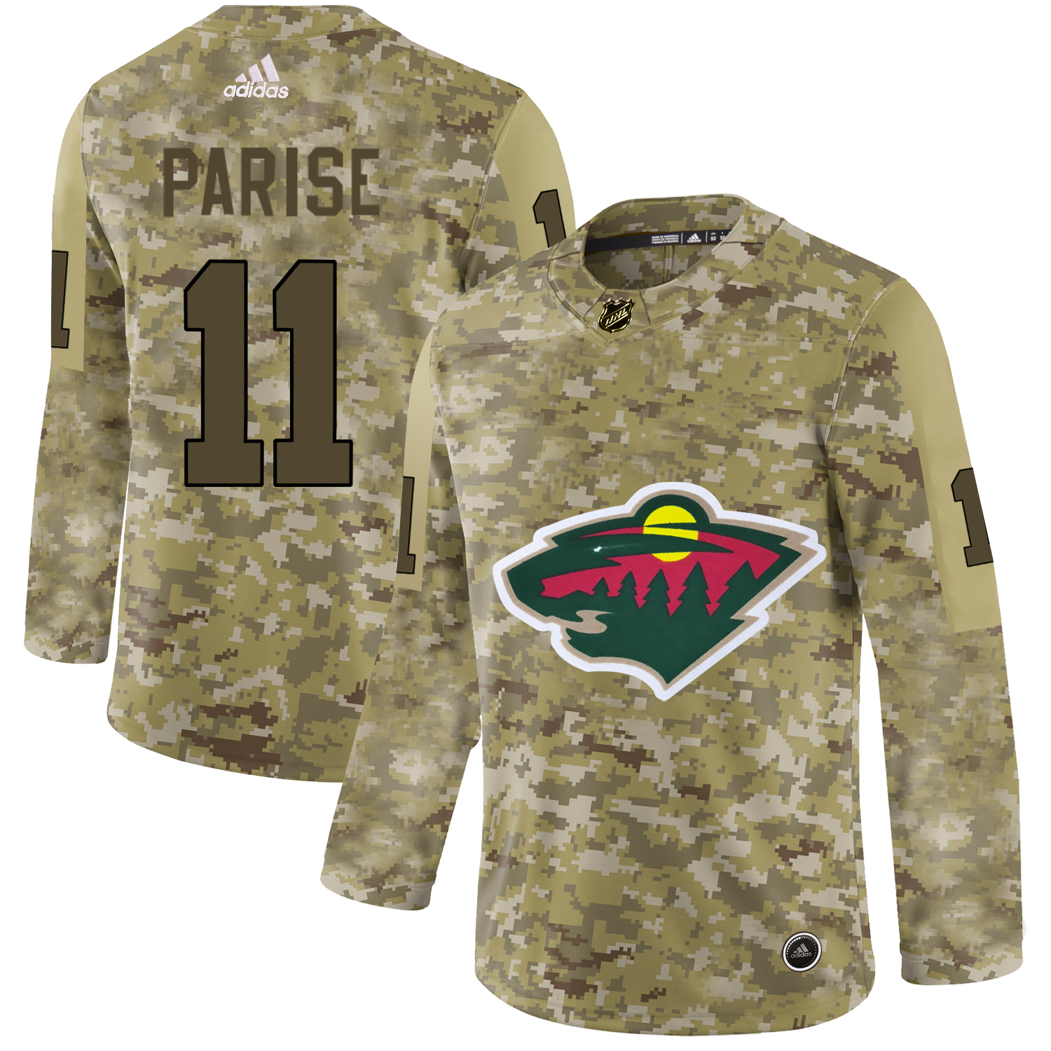 Adidas Wild #11 Zach Parise Camo Authentic Stitched NHL Jersey