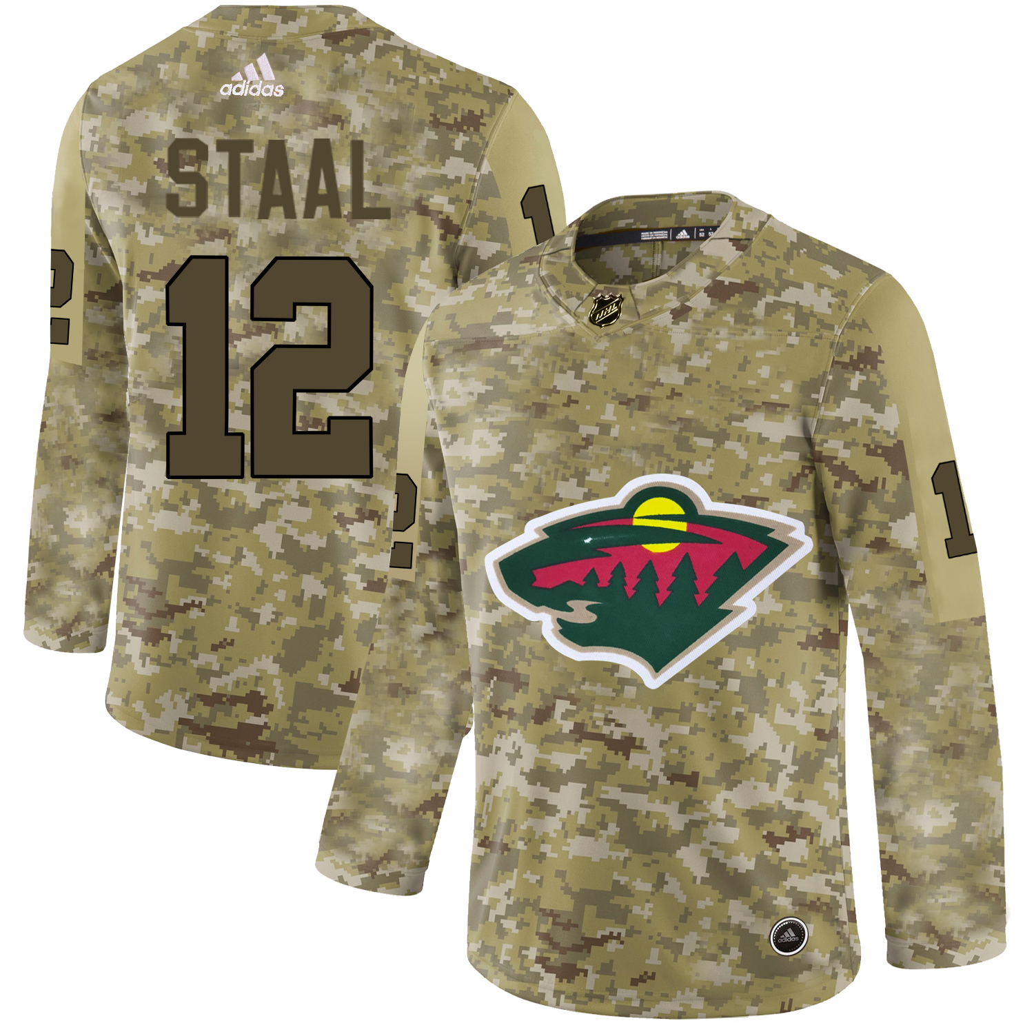 Adidas Wild #12 Eric Staal Camo Authentic Stitched NHL Jersey