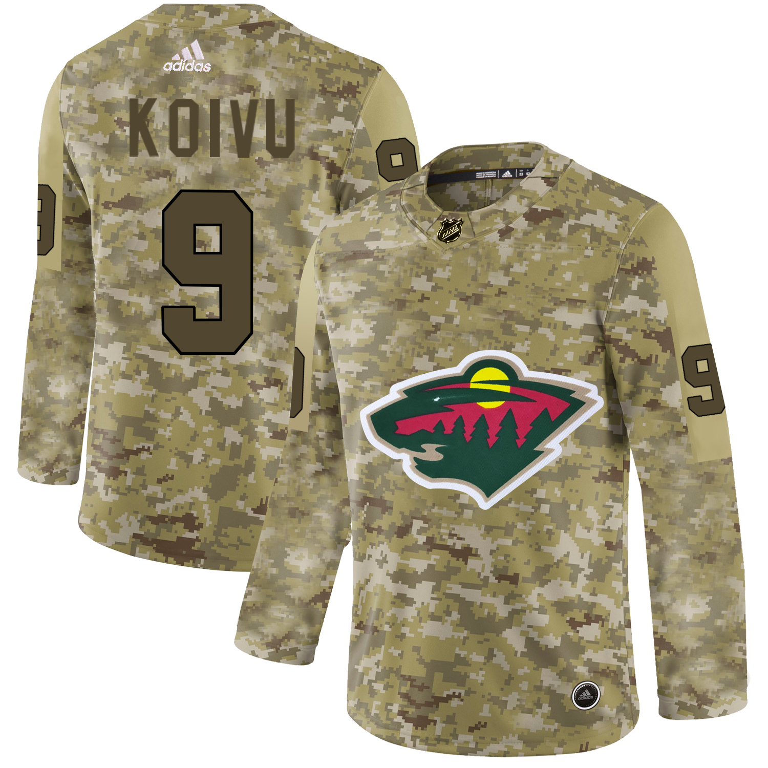 Adidas Wild #9 Mikko Koivu Camo Authentic Stitched NHL Jersey