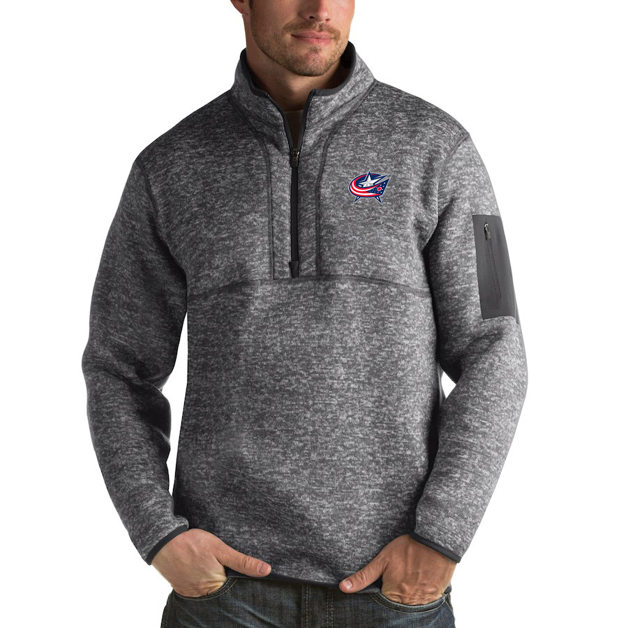 Columbus Blue Jackets Antigua Fortune Quarter-Zip Pullover Jacket Black