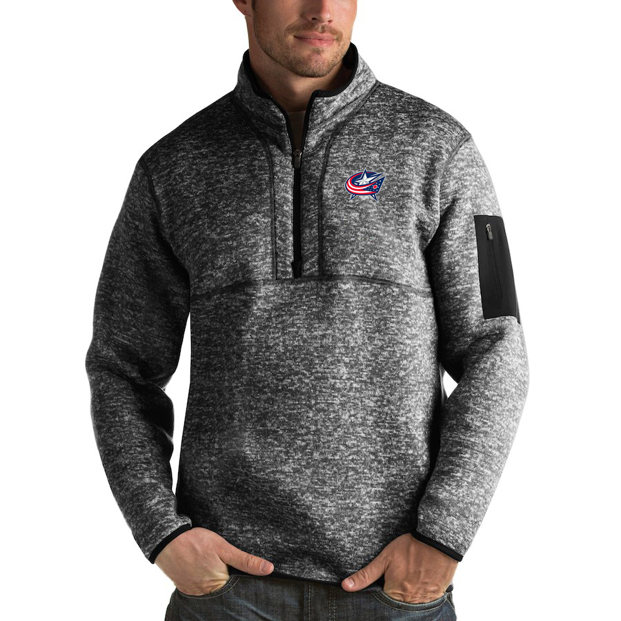 Columbus Blue Jackets Antigua Fortune Quarter-Zip Pullover Jacket Charcoal