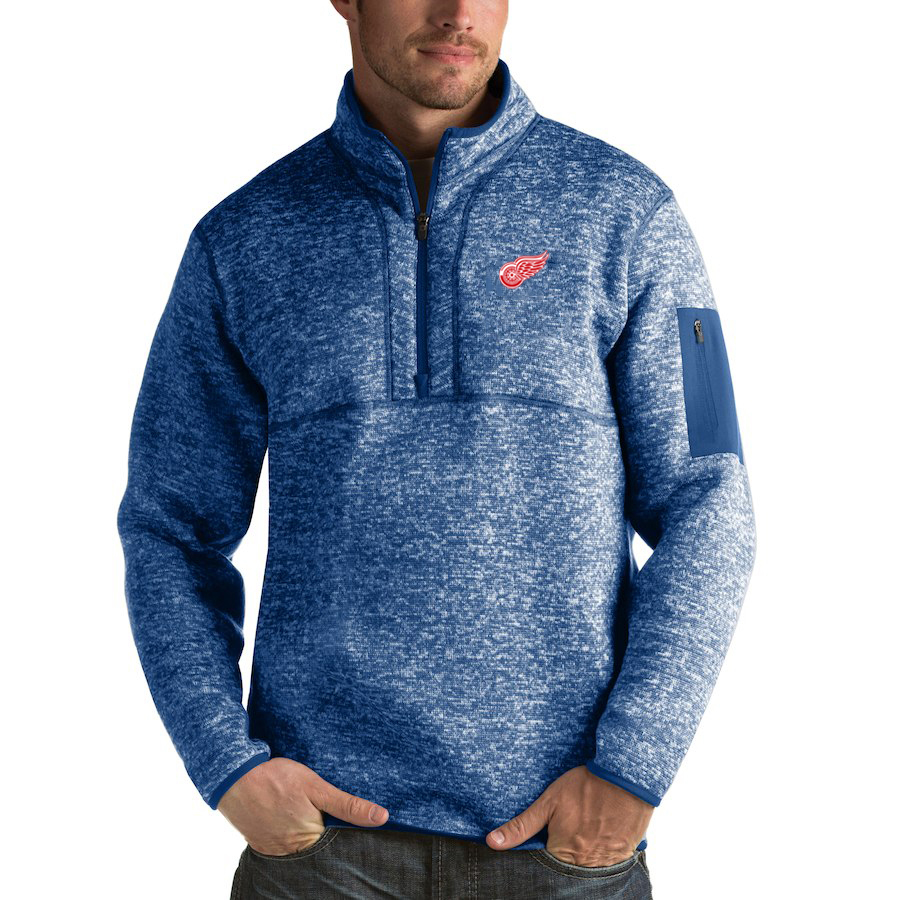 Detroit Red Wings Antigua Fortune Quarter-Zip Pullover Jacket Blue