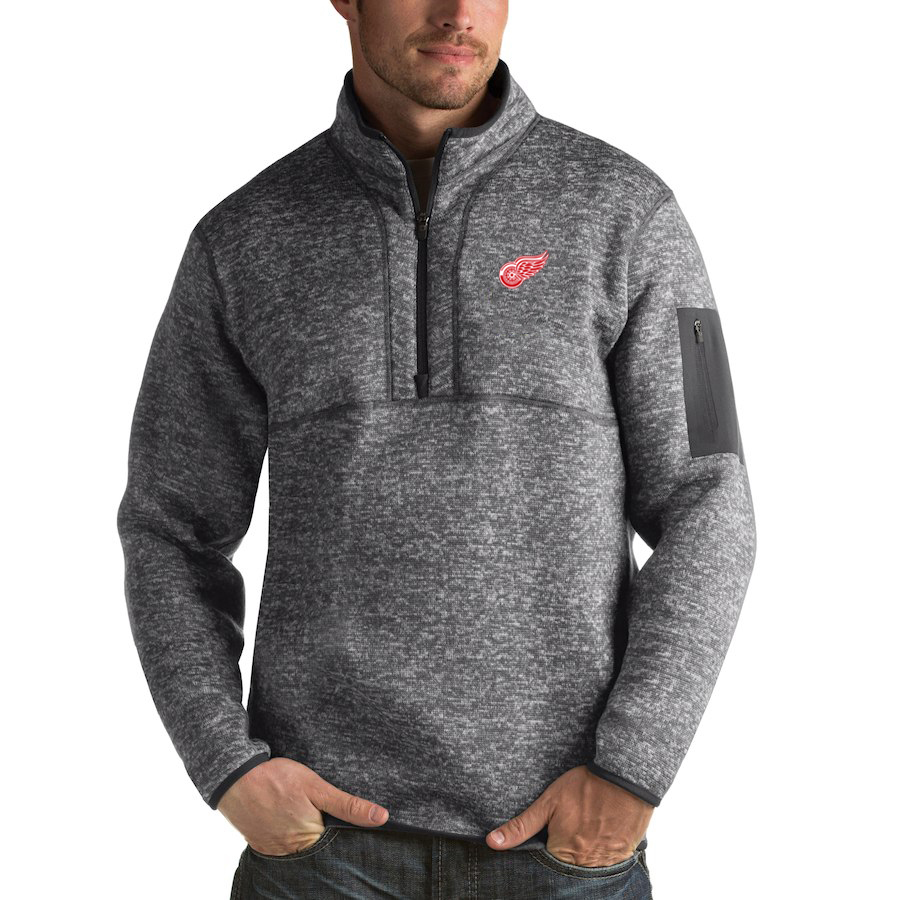 Detroit Red Wings Antigua Fortune Quarter-Zip Pullover Jacket Black