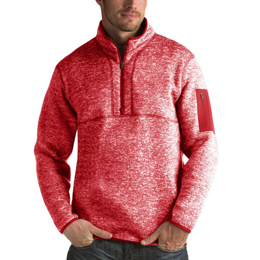 Detroit Red Wings Antigua Fortune Quarter-Zip Pullover Jacket Red