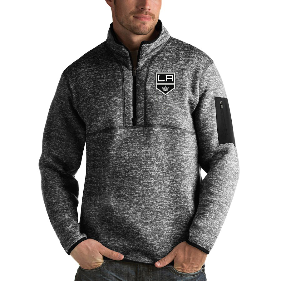 Los Angeles Kings Antigua Fortune Quarter-Zip Pullover Jacket Charcoal
