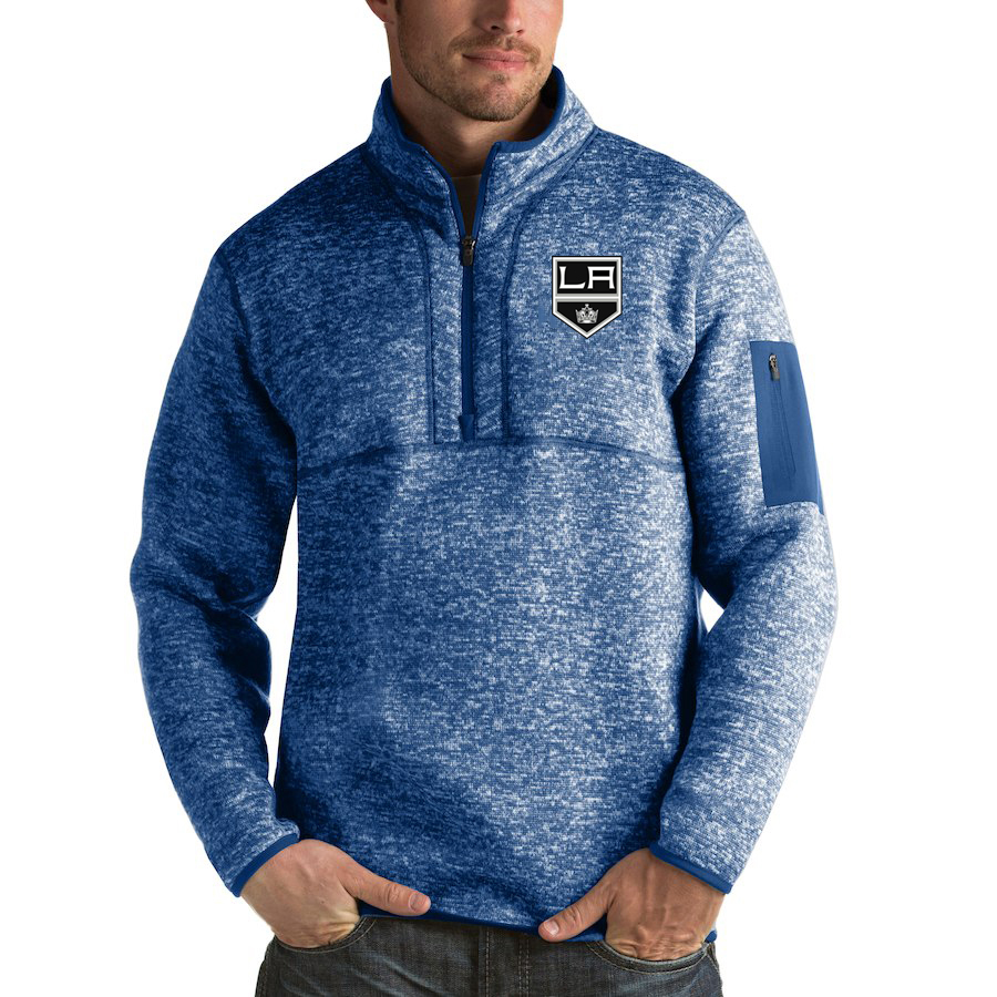 Los Angeles Kings Antigua Fortune Quarter-Zip Pullover Jacket Blue