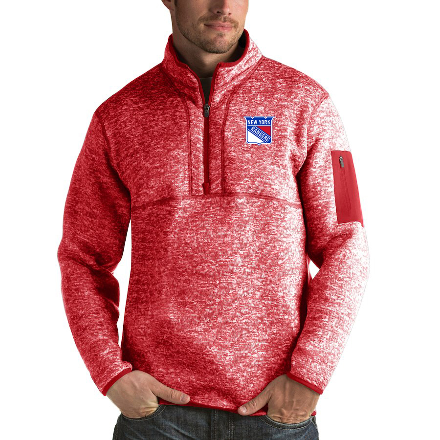 New York Rangers Antigua Fortune Quarter-Zip Pullover Jacket Red