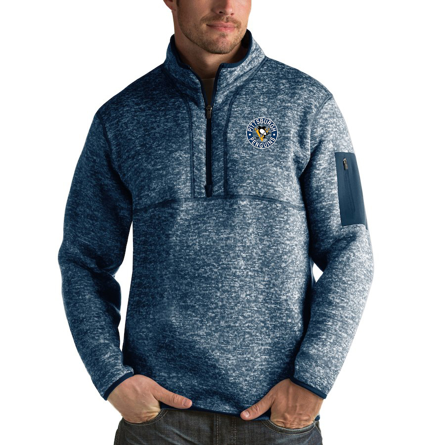Pittsburgh Penguins Antigua Fortune Quarter-Zip Pullover Jacket Royal