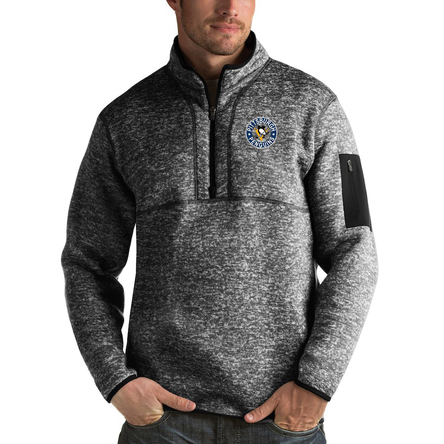 Pittsburgh Penguins Antigua Fortune Quarter-Zip Pullover Jacket Charcoal
